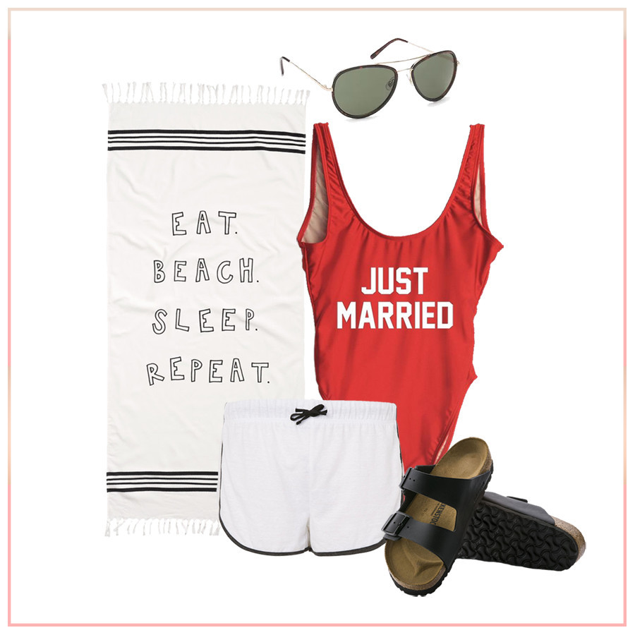 Just married beach apparel photo