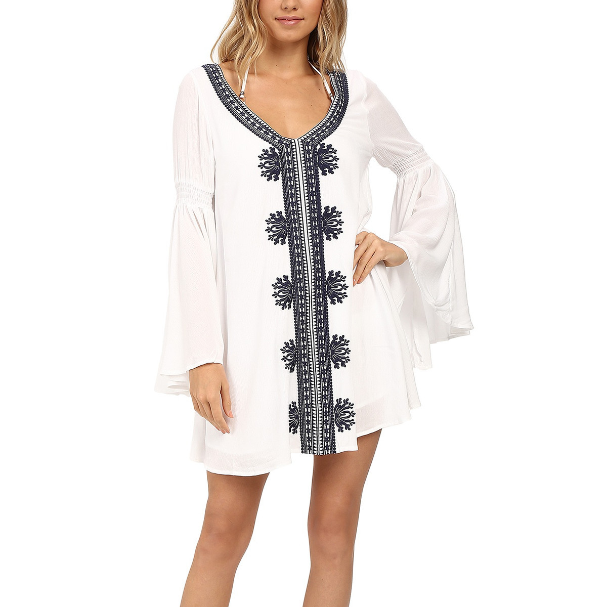 8412b186bfd Bar and Beach. This bell-sleeve tunic dress will keep you ...