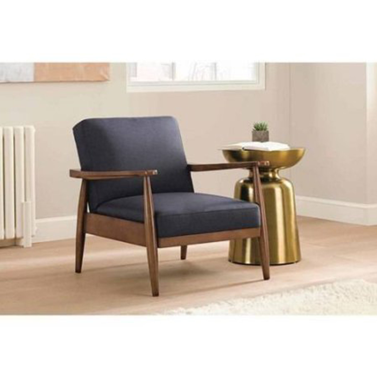 Better Homes & Gardens Flynn Midcentury Chair Wood with Linen Upholstery photo