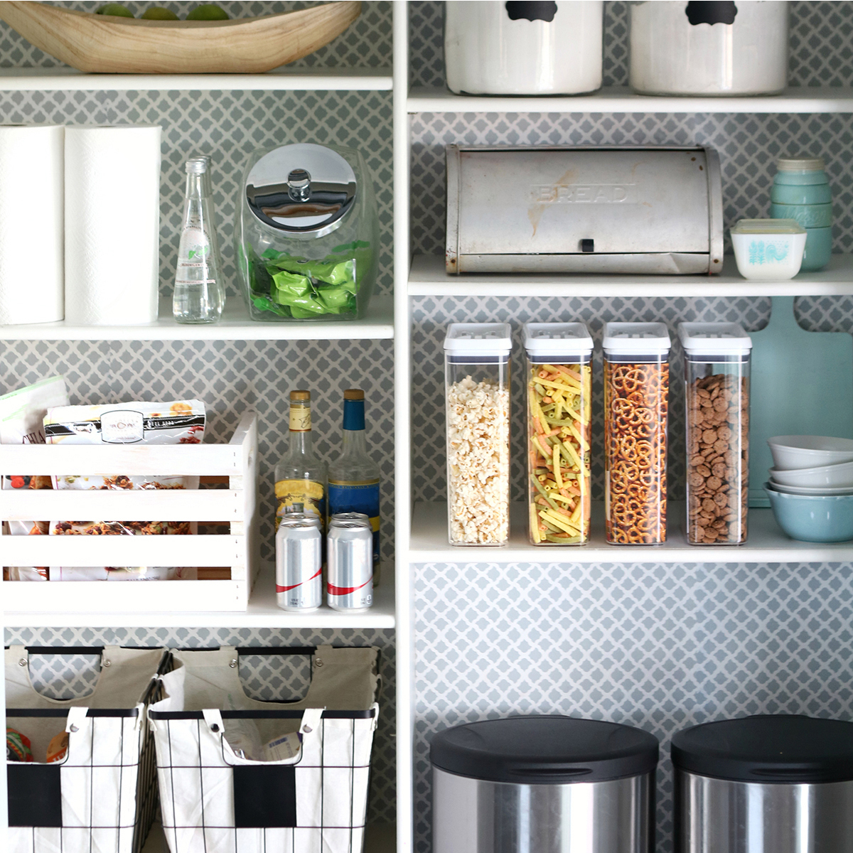 Open-style pantry featuring oval stainless steel waste cans, medium wire baskets, and Flip-Tite containers for organized storage. photo