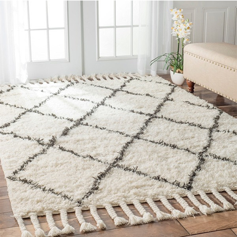 Overstock ivory and gray shag rug photo