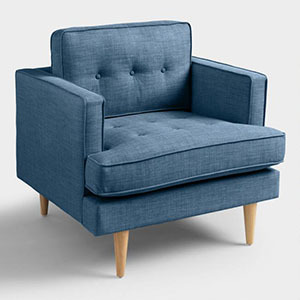 Blue square-back armchair photo