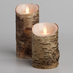 LED flameless candles made to look like pieces of a tree photo