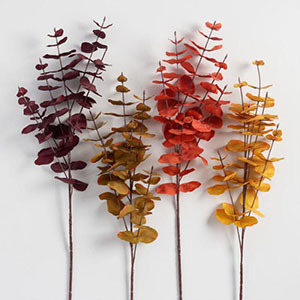 Assortment of colored faux eucalyptus stems photo