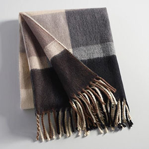 Fringe throw blanket in large plaid print photo