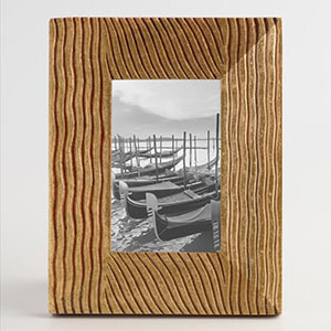 Gold foil wood frame with grooves photo