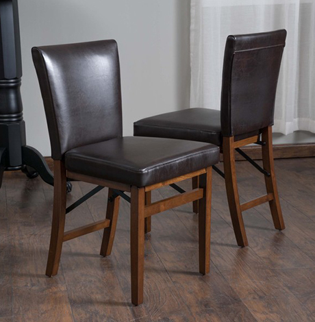 Leather Folding Dining Chair (Set of 2) photo