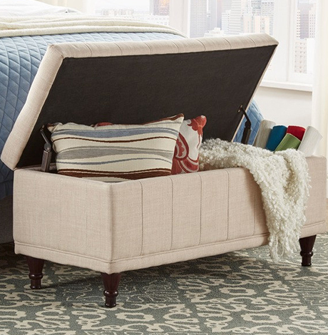 Lift-Top Tufted Storage Bench photo