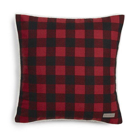 Traditional red and black buffalo check throw pillow photo