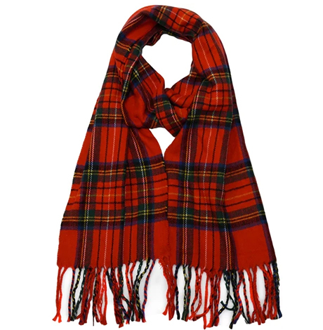 Irish Plaid Cashmere Scarf in Christmas Red photo