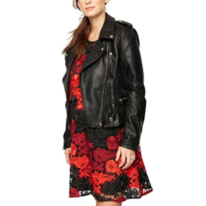 Woman in black and red dress with leather jacket over top from A Pea In The Pod photo