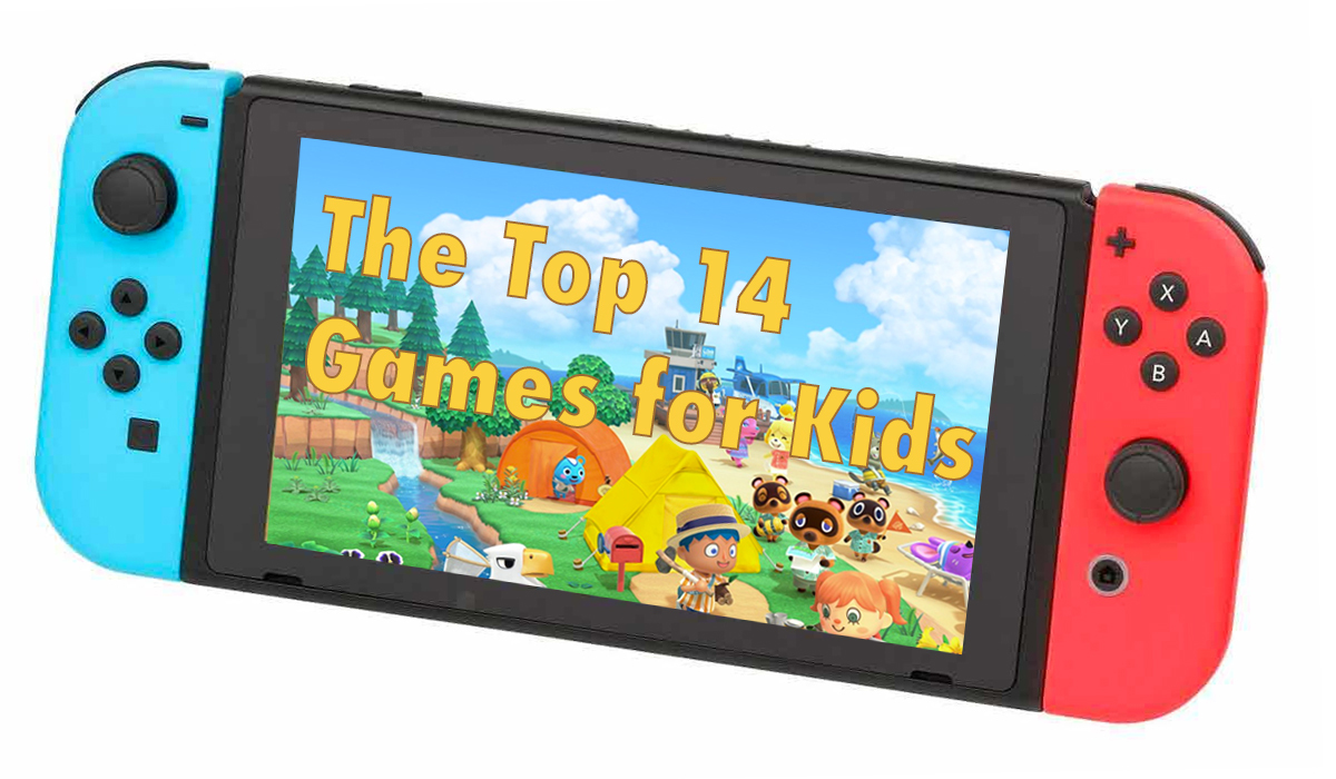 Animal Crossing on Nintendo Switch screen with title text The Top 14 Games for Kids