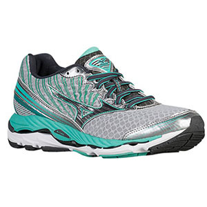 Mizuno women's running shoe in silver and teal photo