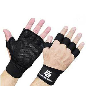 Black ventilated fitness gloves with wrist straps photo