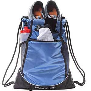 Blue drawstring backpack for sports and the gym photo