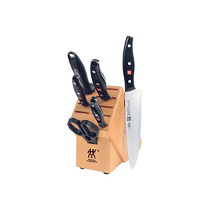Knife block set with 4 knives, 1 sharpening steel rod, kitchen shears, and storage block by Zwilling J.A. Henckels photo
