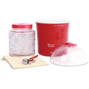 Red Euro Cuisine yogurt maker with clear top photo