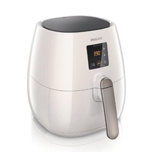 White airfryer with digital screen and large handle photo