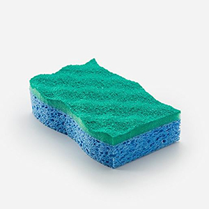 Pack of six blue and green sponges photo