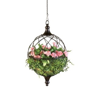 Walmart hanging wire basket planter with pink flowers photo