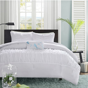 Luxurious ruched duvet cover can add some stylish texture to your bed. photo