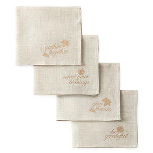Finish off your tablescape with these fall-themed cloth napkins. photo