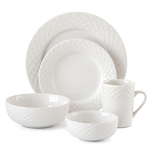 Unique dinnerware set embossed with a stunning basketweave-inspired design. photo