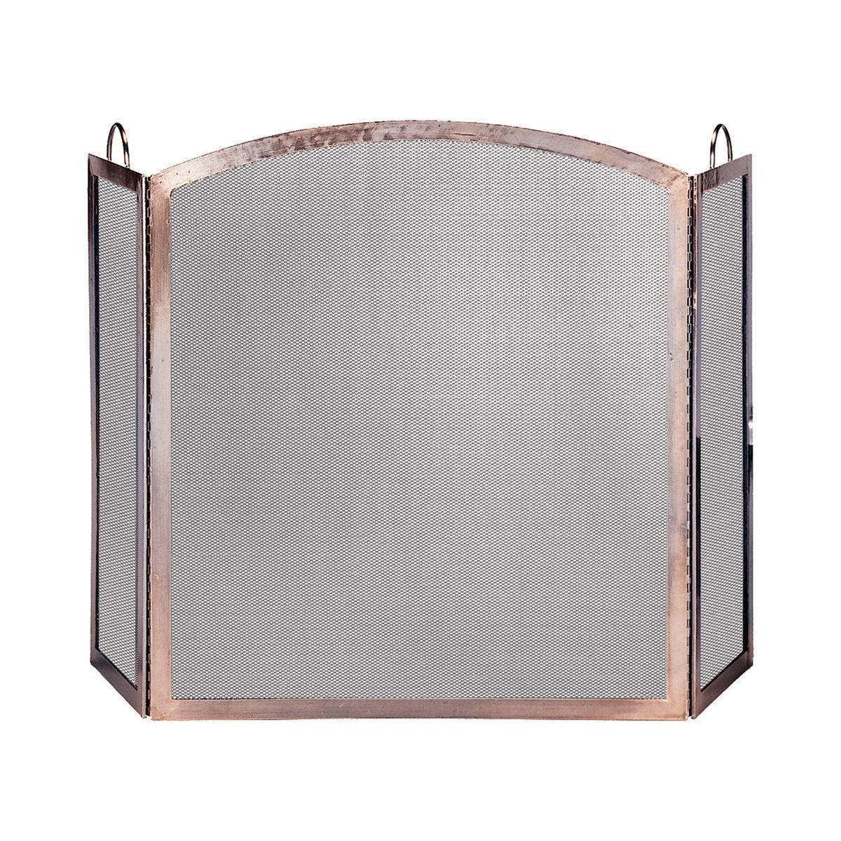 Three-panel metal screen with copper accents photo