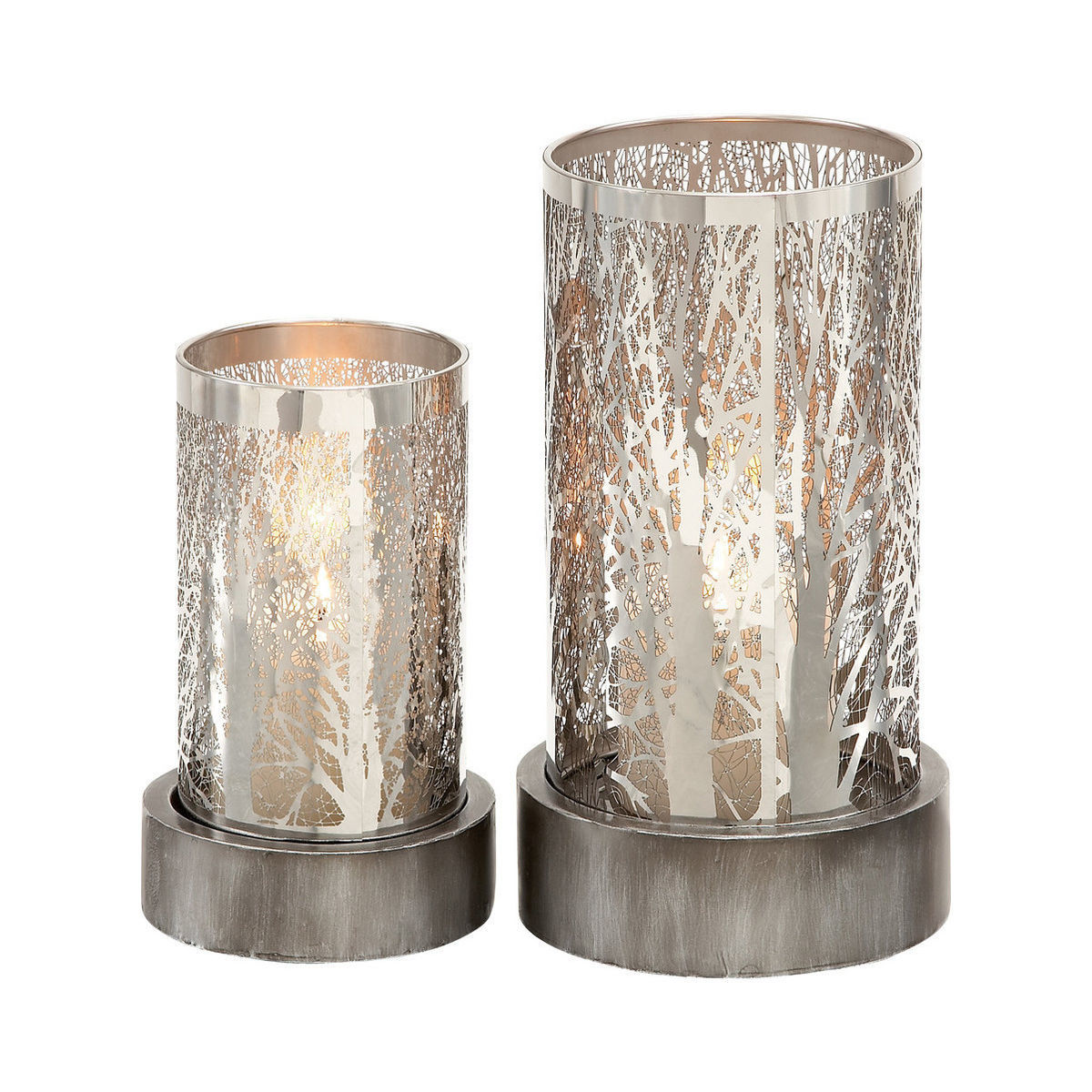 Two frosted metallic candleholders photo