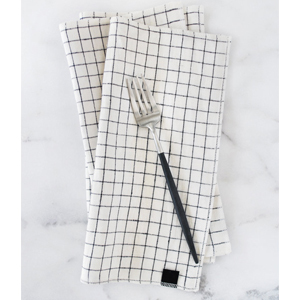 Midnight Windowpane Linen Dinner Napkin photo