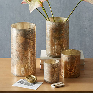 Distressed Mercury Glass Candleholders & Vases photo
