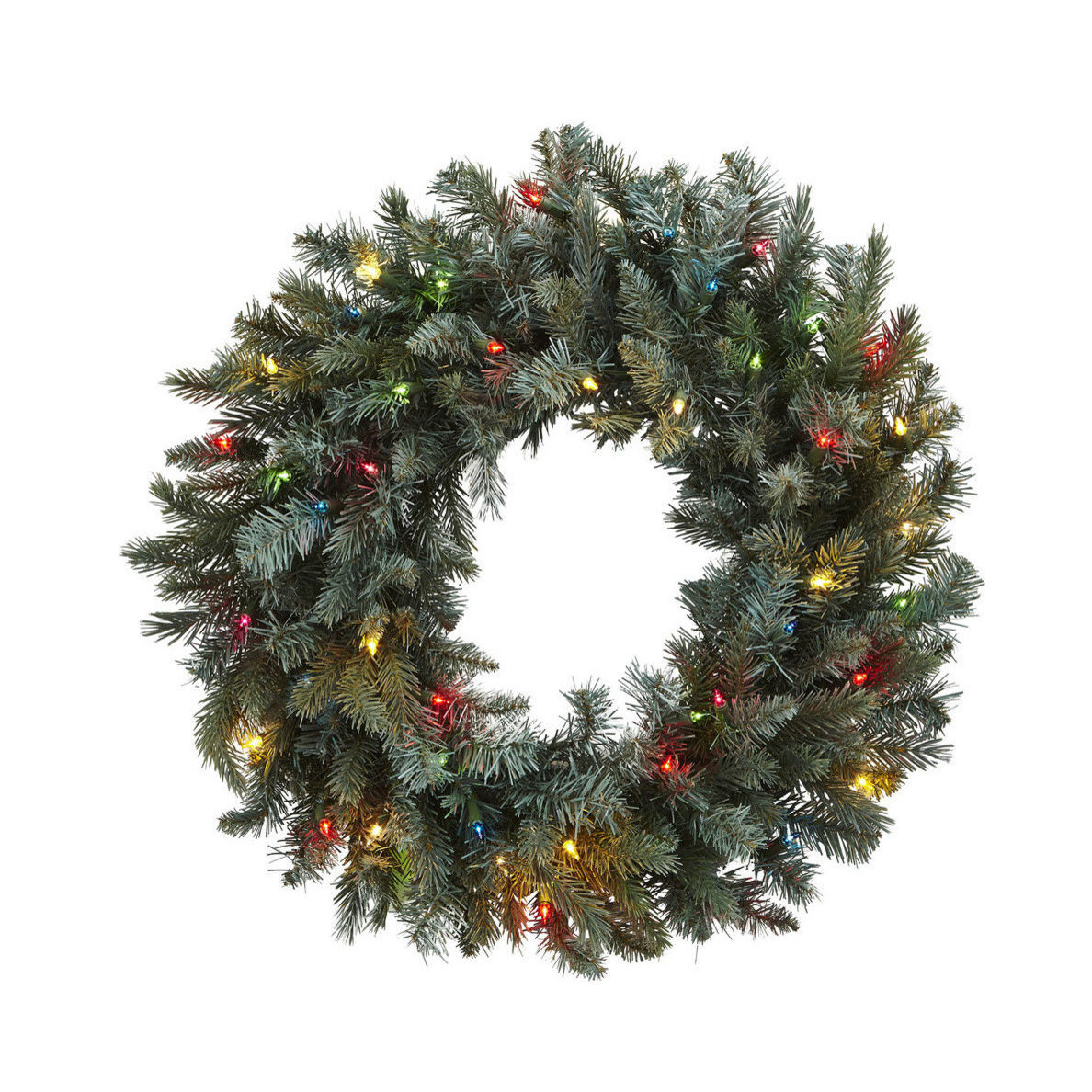 Houzz pine Christmas wreath with colored lights photo