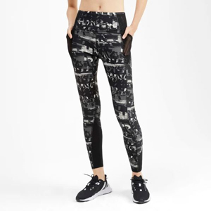 Black and white graphic print leggings by Puma. photo