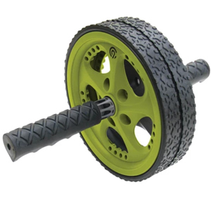 Black and green Champion ab wheel with tred on the wheel and handles. photo