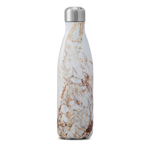 White and gold Swell water bottle with marble pattern. photo