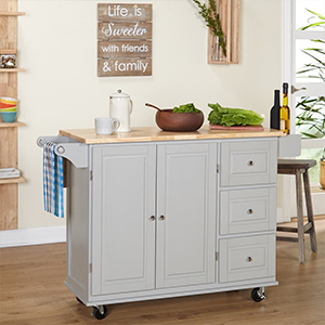 White kitchen cart from Overstock photo