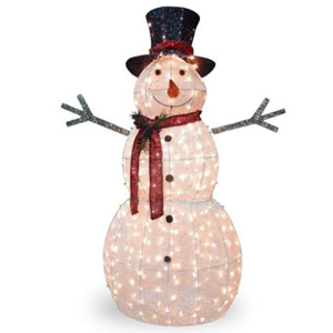 A light-up snowman dressed with a scarf and hat. photo