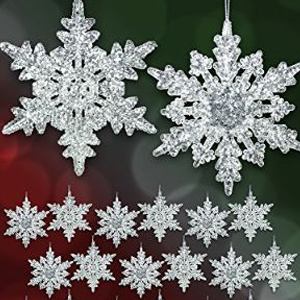 Acrylic snowflake ornaments in different shapes. photo