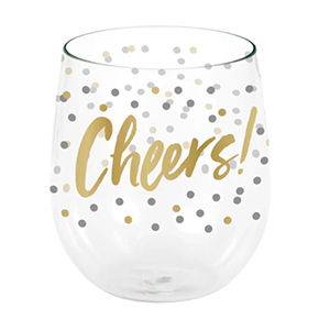 Stemless wine glasses with gold writing photo