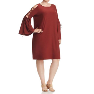 Red dress with lace-up bell sleeves. photo