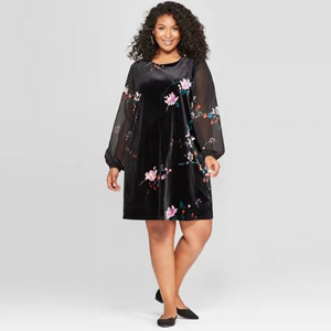 Black velour dress with a floral design and chiffon sleeves. photo