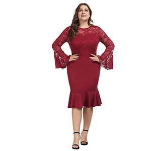 Woman wearing a red dress with lace sleeves photo