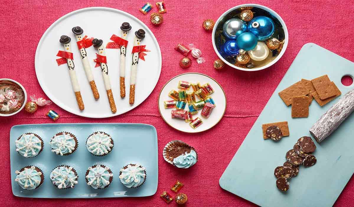 Baked goods like cupcakes, candied pretzels, and more