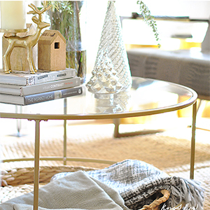 Better Homes & Gardens Nola Coffee Table and Woven Fringe Throw photo