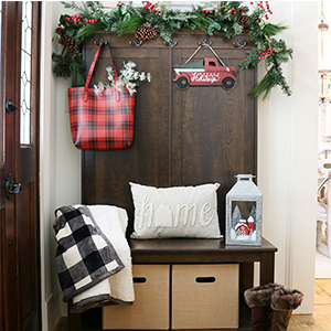 Better Homes & Gardens Parker Hall Tree Bench, throw blanket, and decorative pillow photo