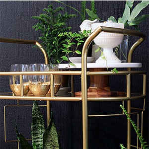Better Homes & Gardens Fitzgerald Serving Cart and Honeycomb Wine Glasses photo
