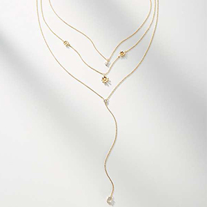 Gold layered lariat necklace photo