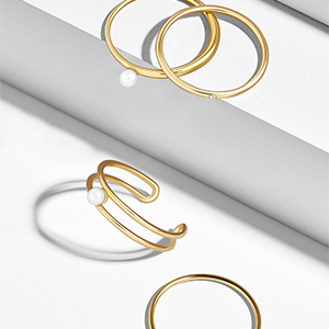 Gold stackable ring set photo
