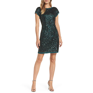 Green cocktail dress with sequins photo