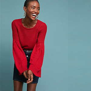 Red sweater with bell sleeves photo